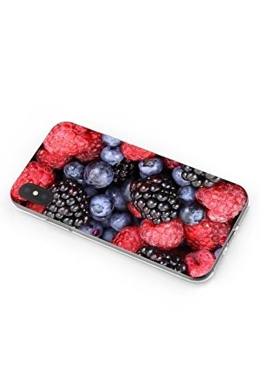 Lopard iPhone Xs Max Kılıf Silikon Arka Kapak Koruyucu Böğürtlen Yaban Mersini Desenli Full HD Baskılı Renkli